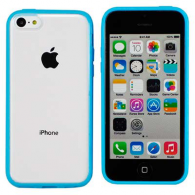 FUNDA DE SILICONA RIGIDA TRANSPARENTE iPHONE 5/5S AZUL