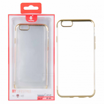 Funda gel TPU Transparente iPhone 6/6s Plus Oro