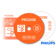 Tarrina 25 unidades CD-R 700mb 52x - ProDisk PHILIPS
